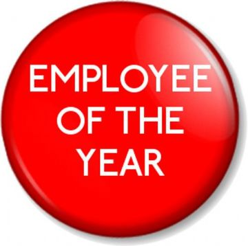 EMPLOYEE OF THE YEAR Pinback  Button Badge Novelty Work Job Staff Reward RED